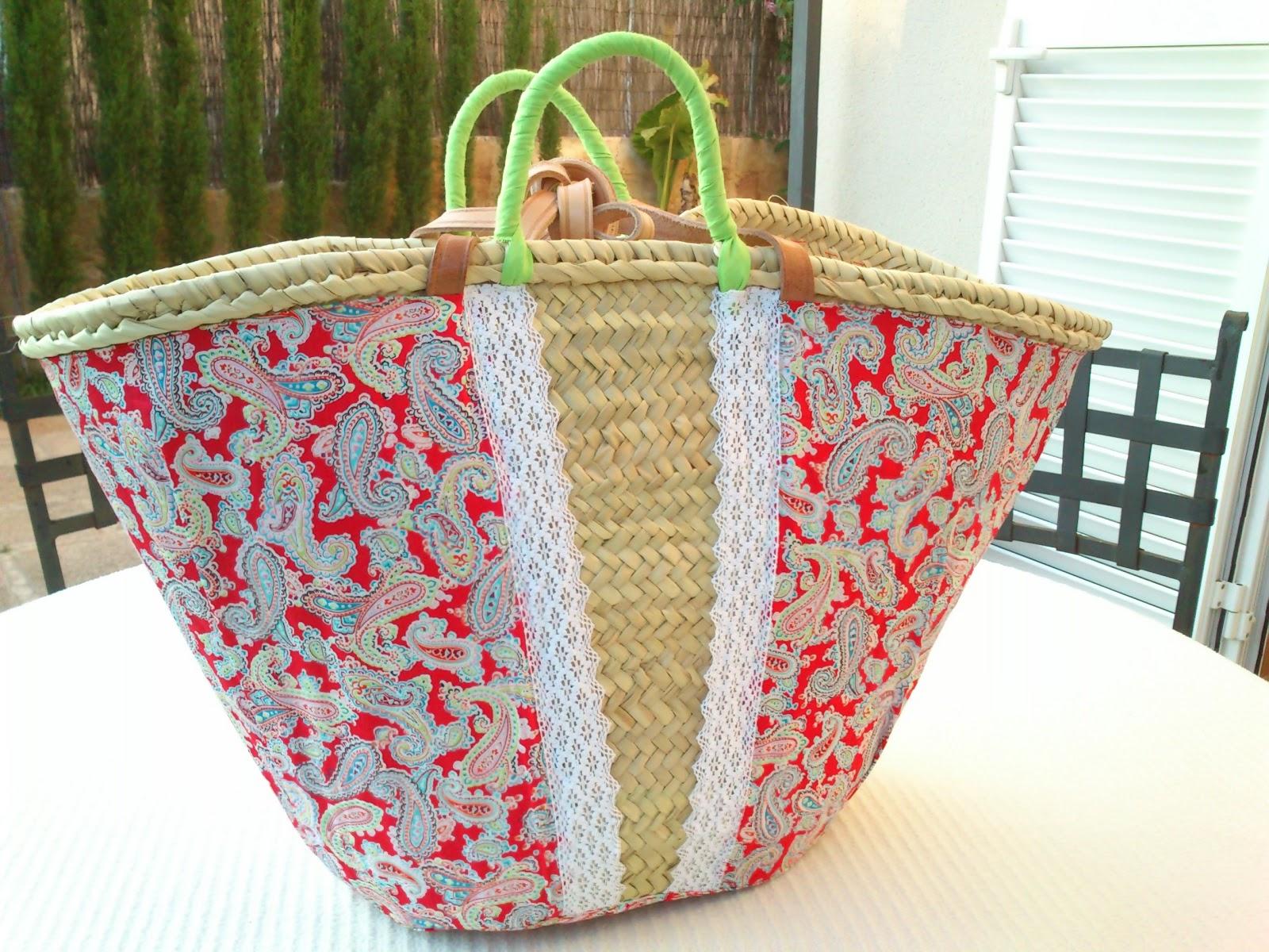 Elcosturerodecarla capazo de mimbre tipo playa decorada - Como adornar cestas de mimbre ...