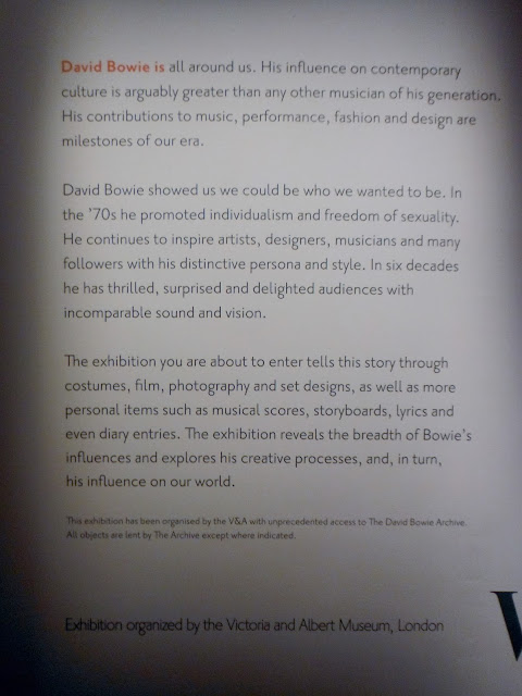 Opening text of David Bowie Is Exhibit at the AGO, Toronto. Put on by the Victoria and Albert musuem