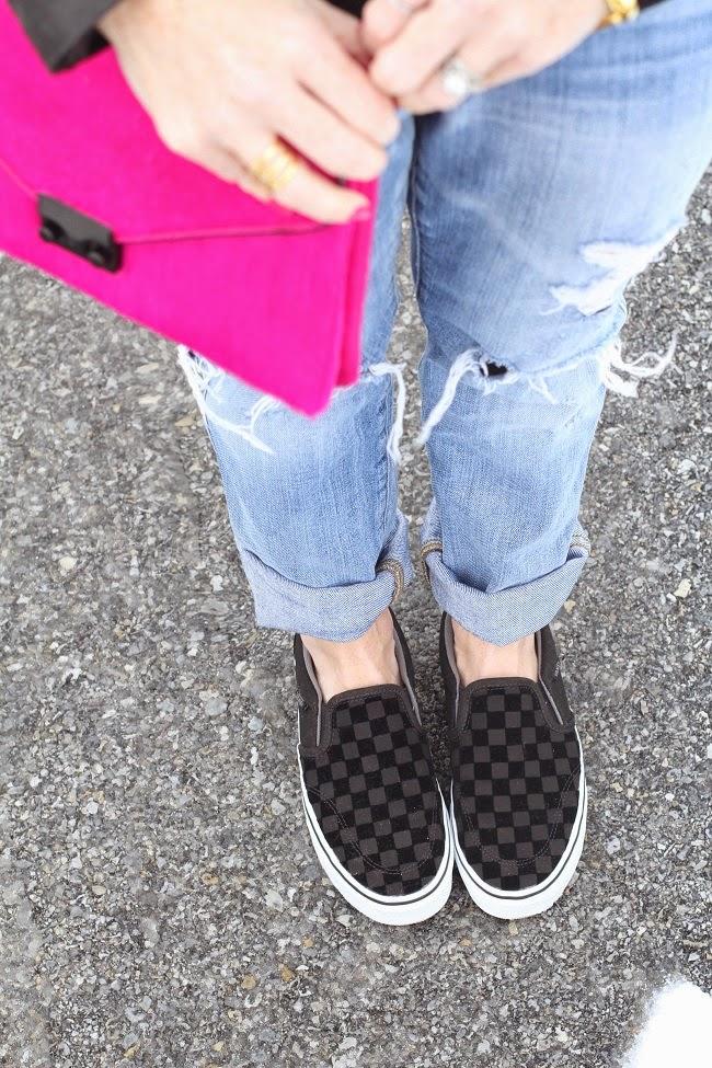 pom pom hat, michael kors leather jacket, jcrew boyfriend jeans, loeffler randall clutch, vans slip on sneakers