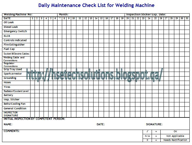 welding machine daily inspection checklist