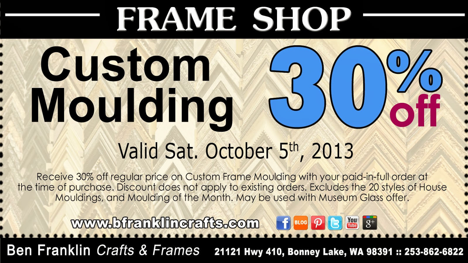 Ben franklin crafts and frame shop 30 off coupon for Ben franklin craft store coupons