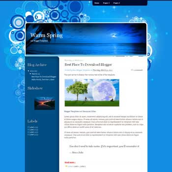 Warm Spring blogger template. template blog from wordpress