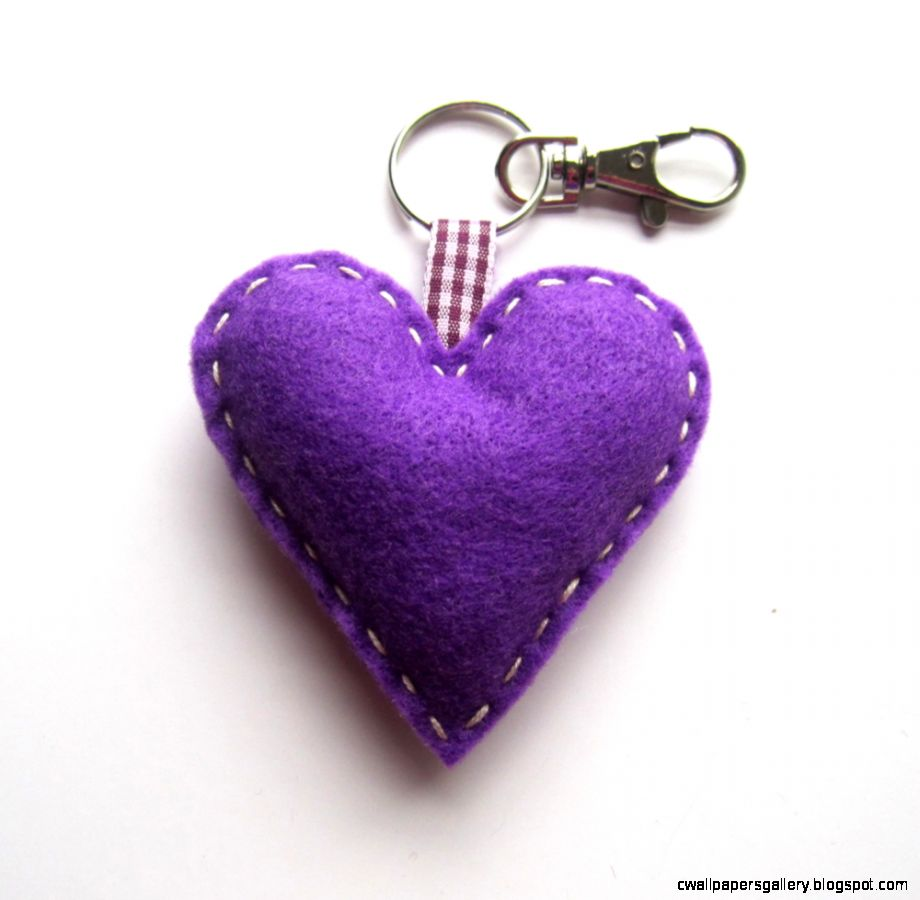 Purple Love Heart Keyring Charm on Luulla