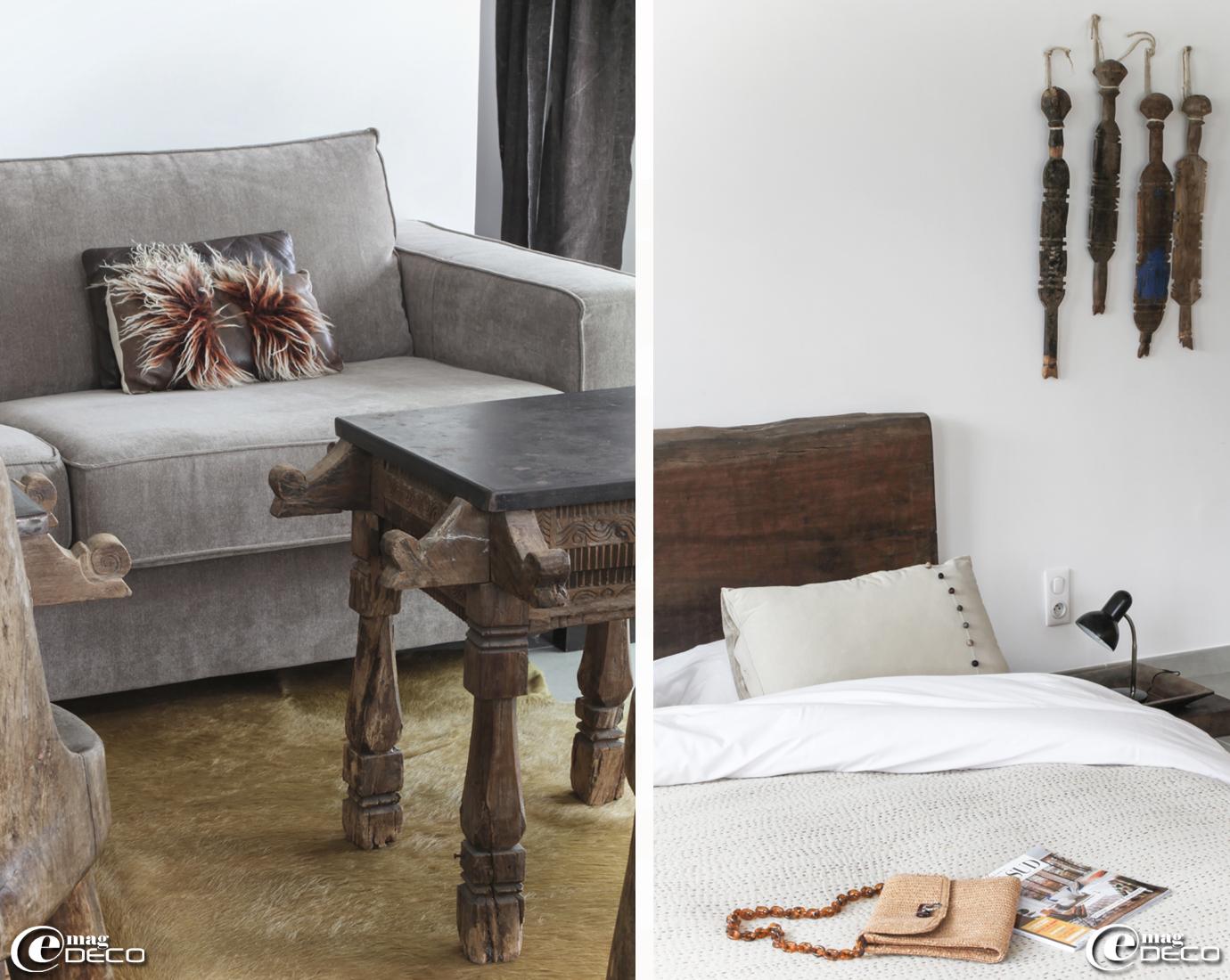 Un grand plateau de bois africain tient lieu de tête de lit, jeté de lit et taies d'oreillers 'Vivaraise', maison d'hôtes 'La Suite Cassis'