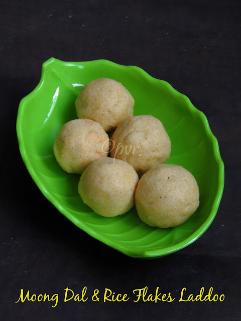 Moongdal laddoos with rice flakes