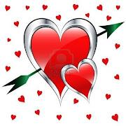 Eres aliento de amor. Que hace sentir vivo a mi corazón (corazones de amor de dia de san valentin en plata rojo con una flecha verde que se est)