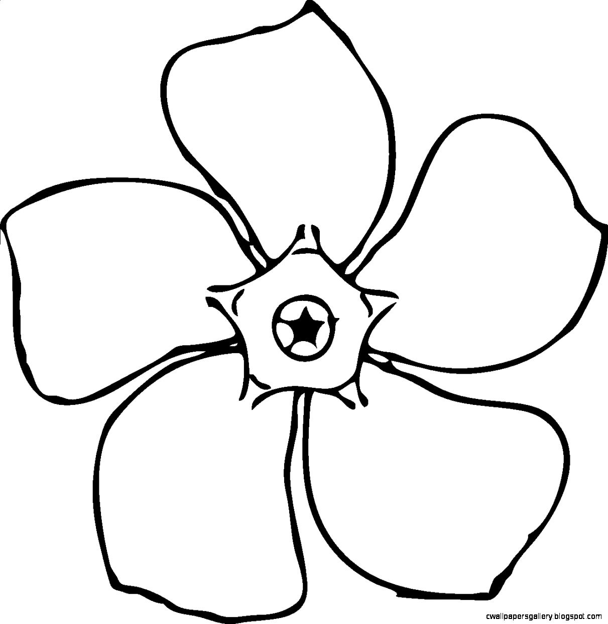 Simple Black And White Flower Clipart