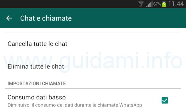 Consumo dati basso chiamate WhatsApp