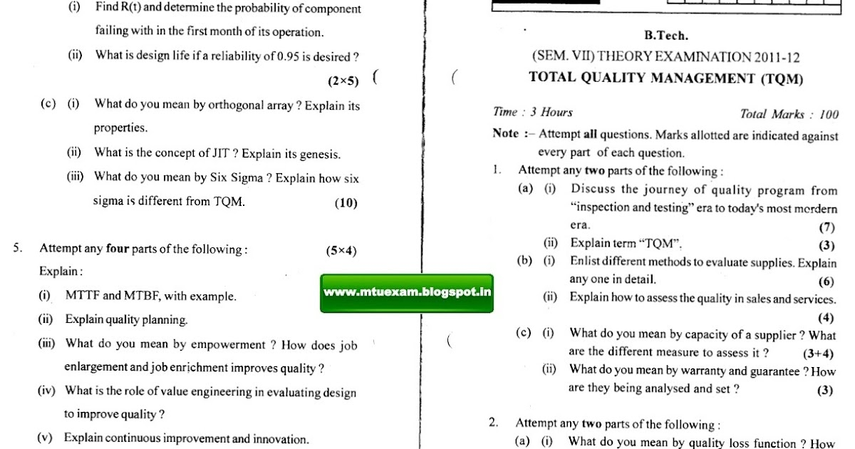 total quality management previous year question papers uptu Download free previous question papers (pdf) for uttar pradesh technical   quality management, thermal turbo machines, total quality management,.