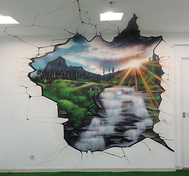 Berok graffiti mural profesional en barcelona murales de for Murales diseno de interiores