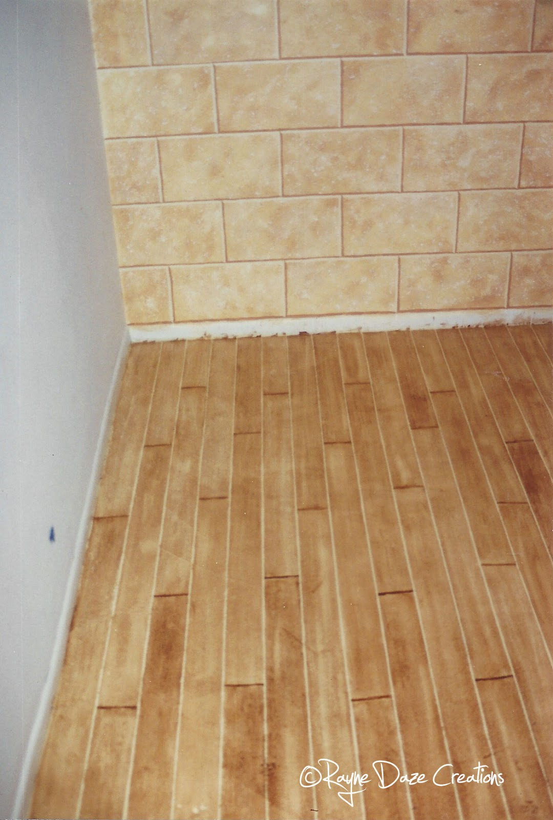 Rayne Daze Creations Faux Wood Painted Concrete Floor