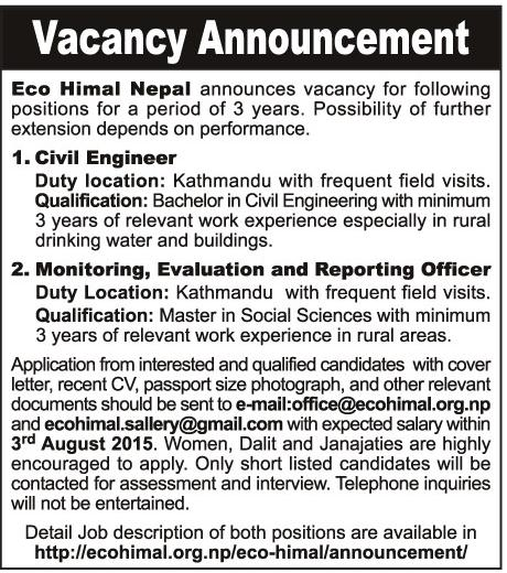 Civil Engineer Job Vacancy Eco Himal Nepal – Job Description of Civil Engineer