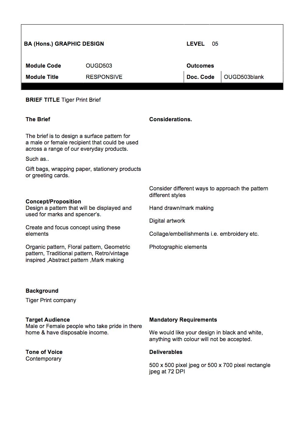 Tiger Print brief & Concept