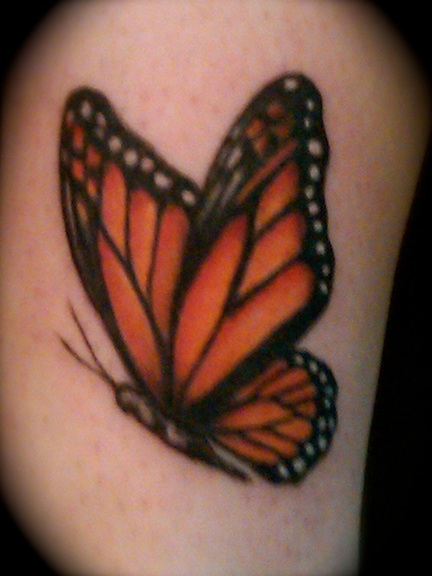 Monarch Butterfly On Flower Tattoo CINCIN PERAK