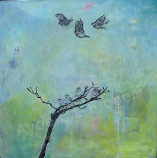 Gråspurve, unger, forår, maleri, acryl, kunst, flyvefærdige, fugle