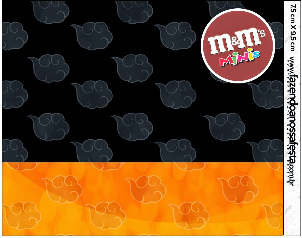 Etiquetas M&M de Naranja y Negro con Nubes para imprimir gratis.