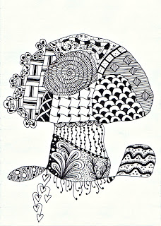 zentangle toadstool stylised