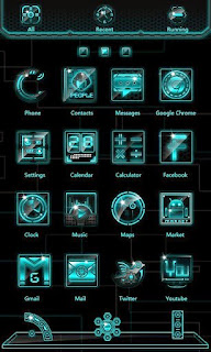 Screenshots of the Laser GO Launcher EX Android apk Theme for Android mobile, tablet, and Smartphone.