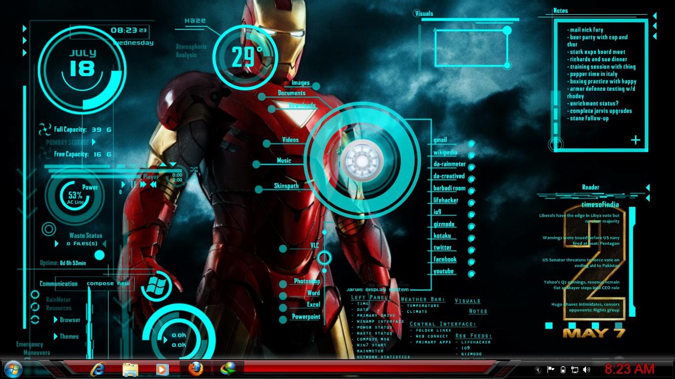 Rainmeter jarvis iron man blogger - Iron man jarvis background ...