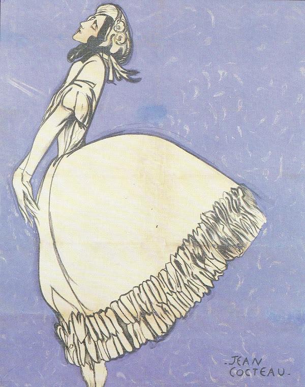 Desenho de Cartaz (Litografia) criado para o balé O Espectro da Rosa, por Jean Cocteau.