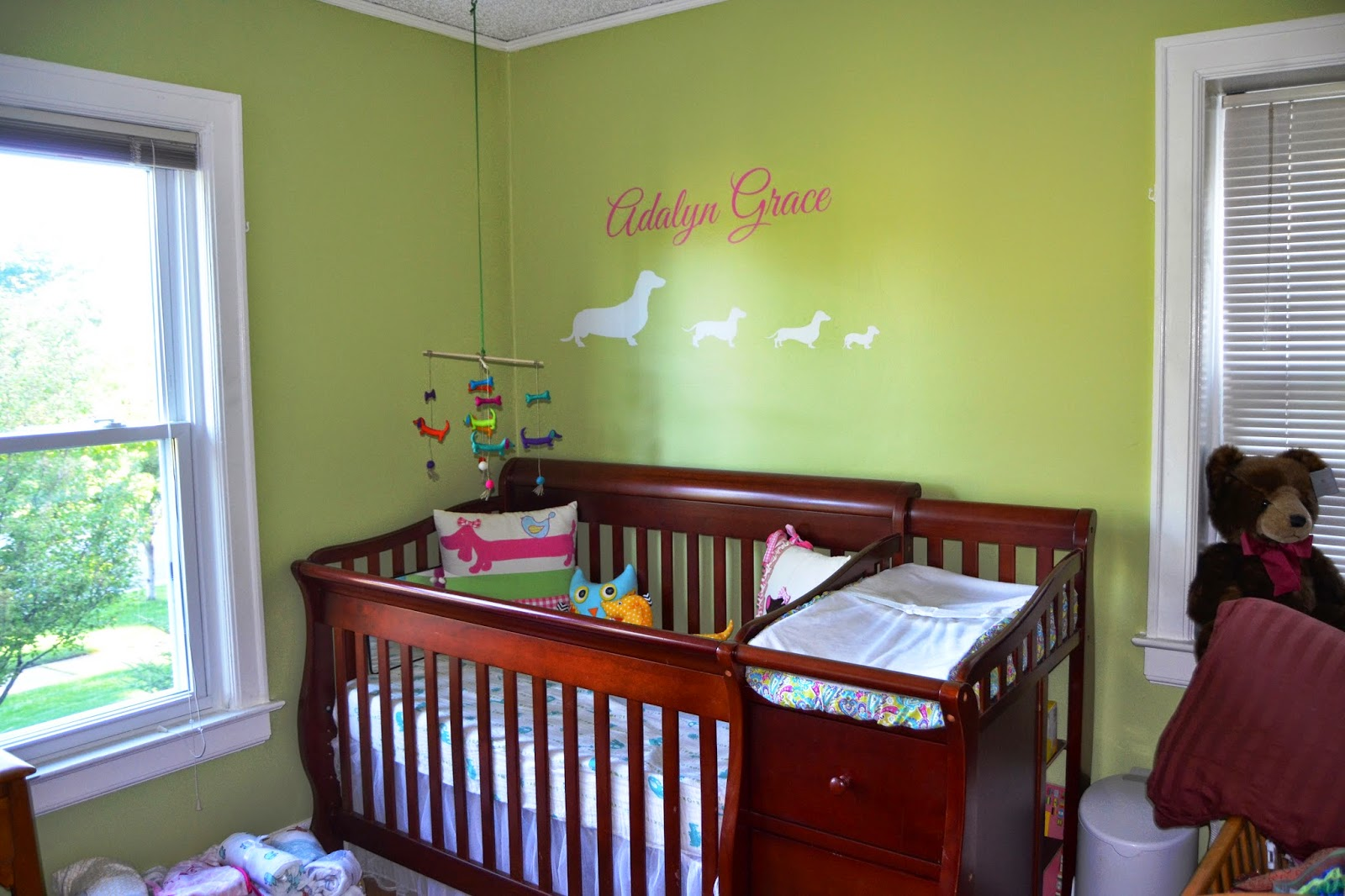 Fresh Paint color Behr Premium Plus Apple Crib changing table from Craigslist originally from Babies ur Us Dachshund wall decal and Adalyn