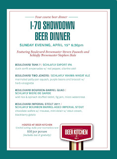 Beer Kitchen's I-70 Showdown Beer Dinner Menu