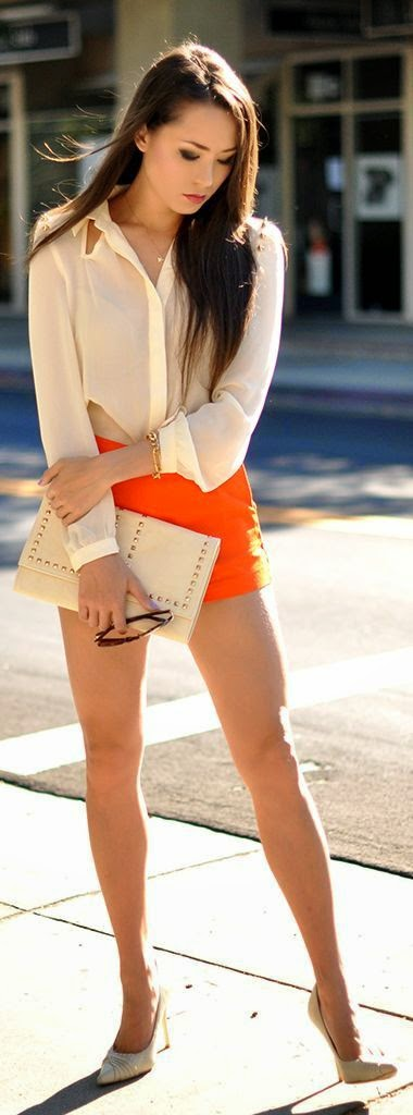 Hot dress for women Orange shorts + Heels + hand bag