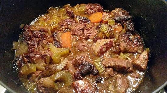 A pot of carbonade flamanade - Belgian beef and beer casserole.