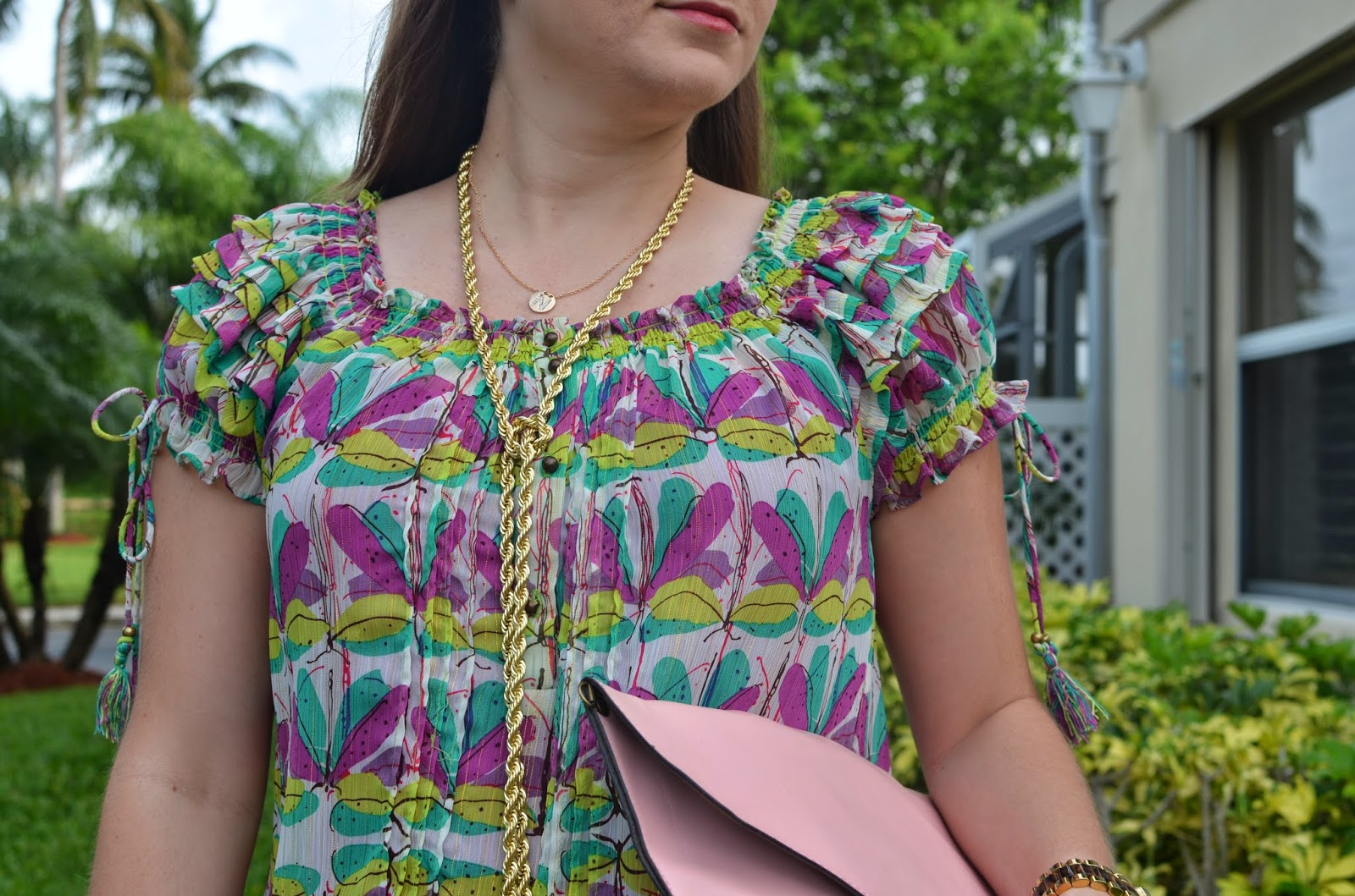 Summer dress - pink clutch - studded sandals