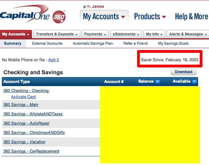 Capital One Money Market Account Sub Accounts