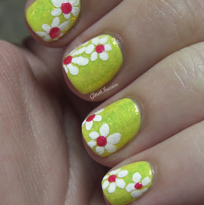floral, daisies, flowers, nail art, free hand