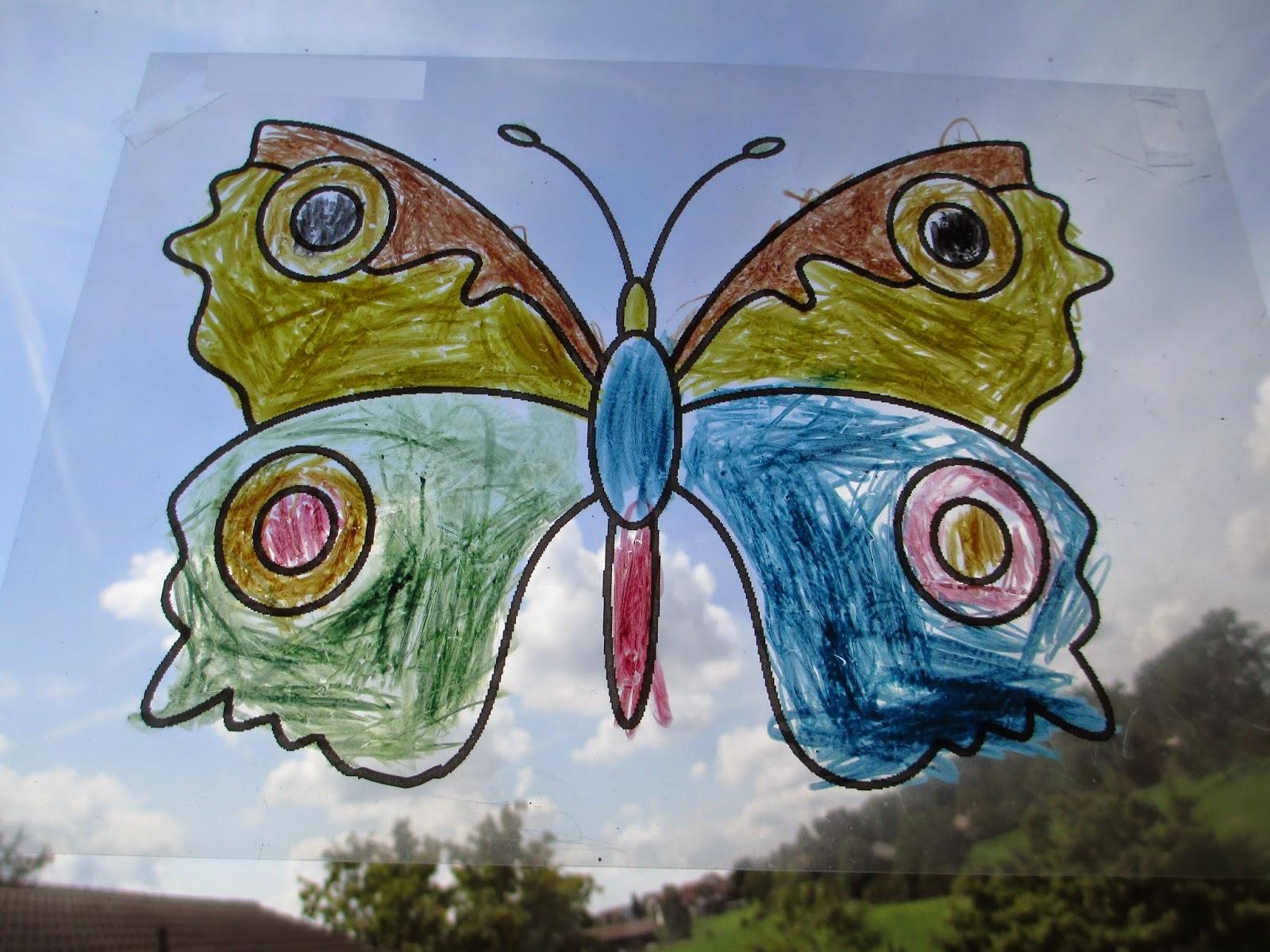 Deko mit Kindern malen Schmetterlinge