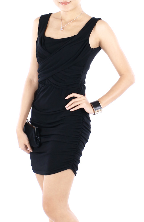 Black Ritzy Ruched Bodycon Party Dress
