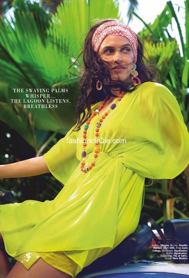 Neha dhupia redefines sexy with this neon yellow caftan , and we love the headband!  - (4) - Neha Dhupia's Filmfare – July 2012