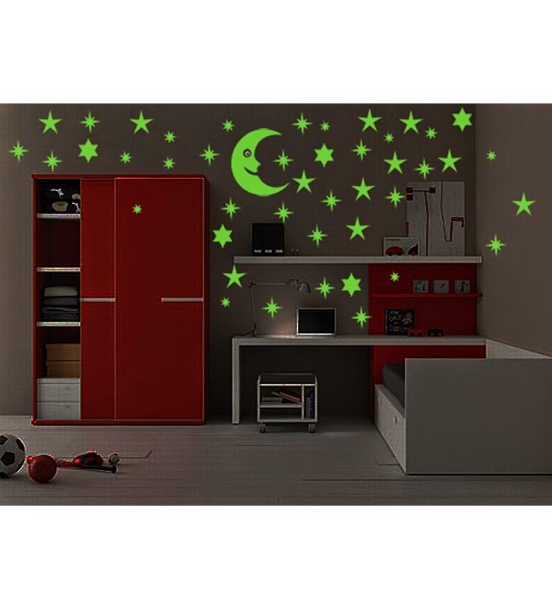 Buy Wall Whisper Moon And 40 Star Glow In The Dark Glowing Wall Sticker Rs.159