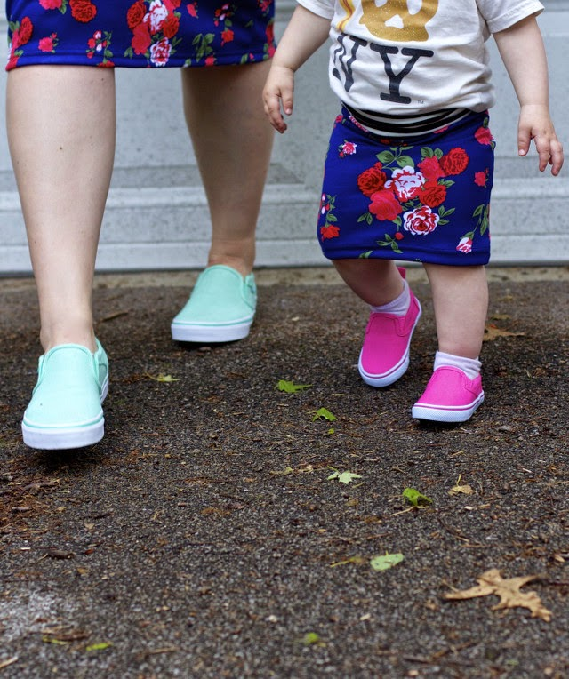 Slip on sneakers for mom and daughter