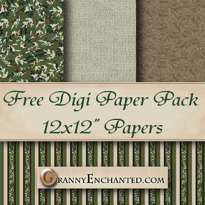 Granny Enchanteds Blog Free Green Camo Digi Scrapbook Paper Pack