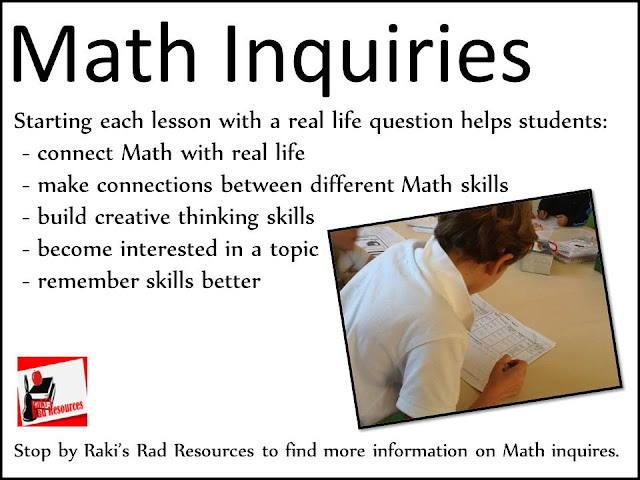 Math inquiries - a way to get kids thinking about their math in real life terms - from Raki's Rad Resources
