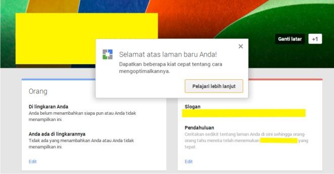 Halaman Google Plus Blog Dicintai.Com
