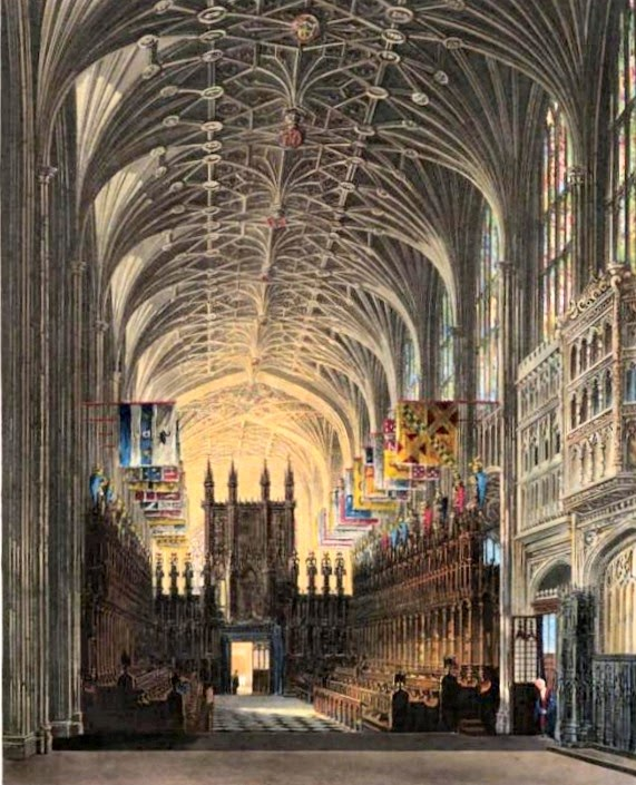 St George's Chapel, Windsor Castle  from The History of the Royal Residences by WH Pyne (1819)