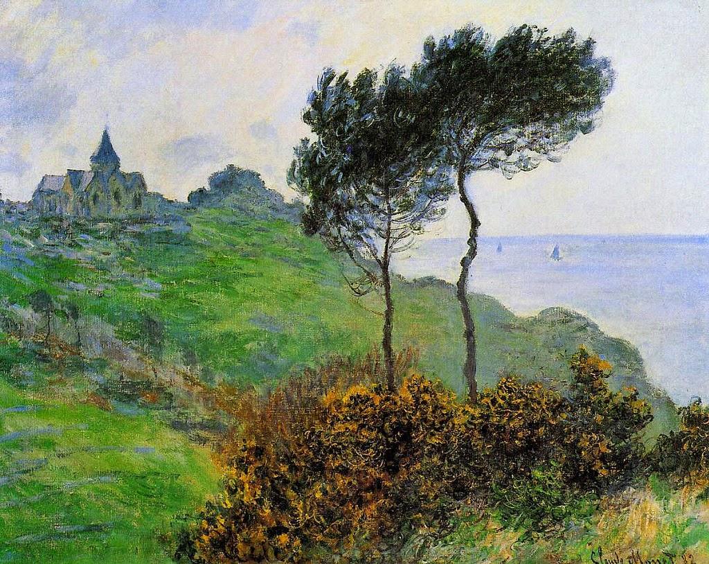 Église de Varengeville, temps gris (Claude Monet, 1882)