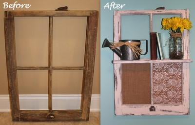 diy vintage window frame shelf
