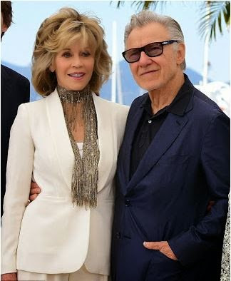 What a hickey! Jane Fonda grabs Harvey Keitel's butt as they pose
