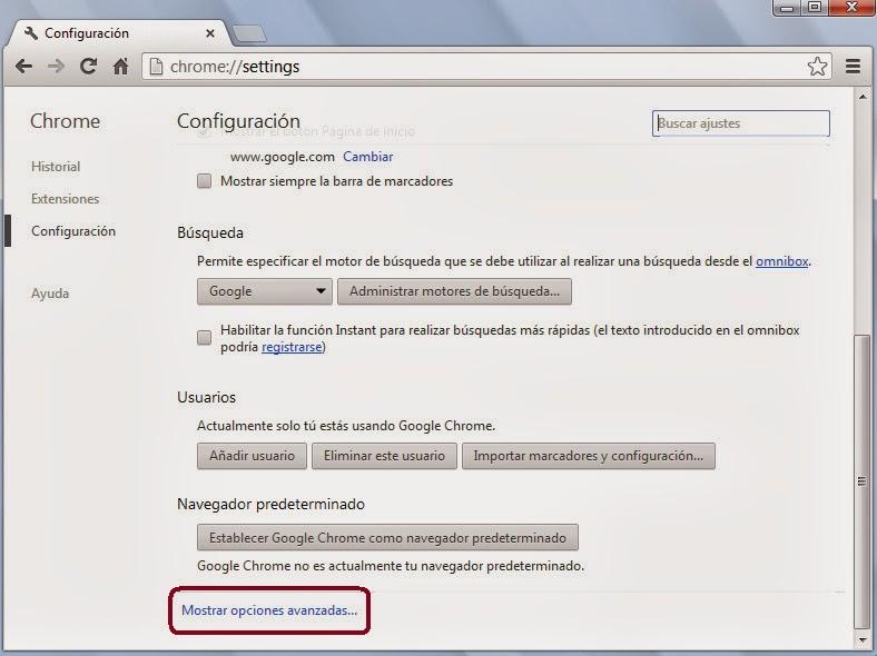 Vista previa Configuración Google Chrome