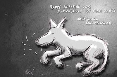 Sleeping Dog w/FIsh Bones