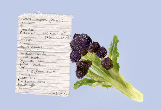Illustrated shopping list - purple sprouting broccoli watercolour