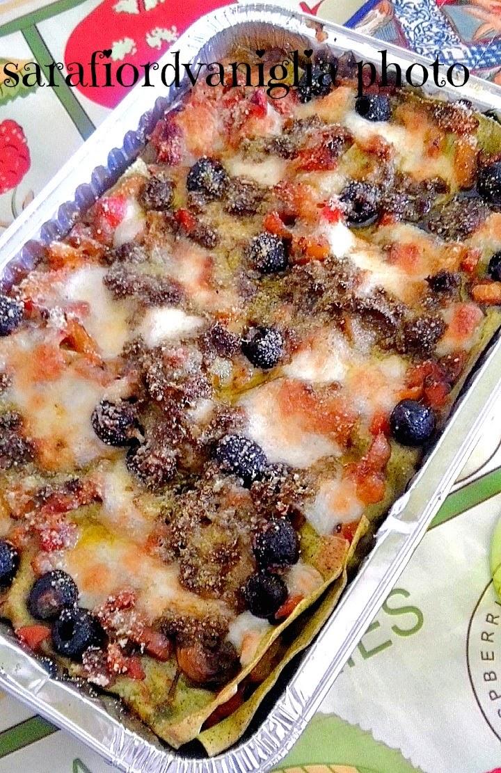 lasagne vegetariane con verdure e mozzarella