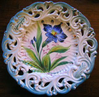 Hand painted vintage Italian floral Plate