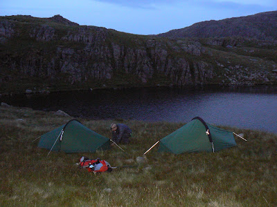 Pitching our tents by Sprinking Tarn as the light begins to fade