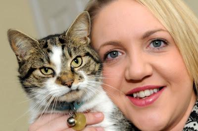 Foto seekor kucing bersama dengan pemiliknya